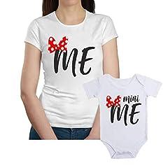 Idea Regalo - Coppia T-Shirt e Body Madre Figlia Festa della Mamma Me, Mini Me - t Shirt Mamma Figlia - Idea Regalo