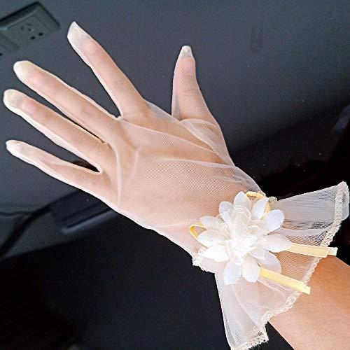 GBSTA Vingerloze Handschoenen Vingers Pols Lengte Bloemen Champagne Bruids Handschoenen Bruiloft Accessoires Eenvoudige Stijl Handschoen Champagne