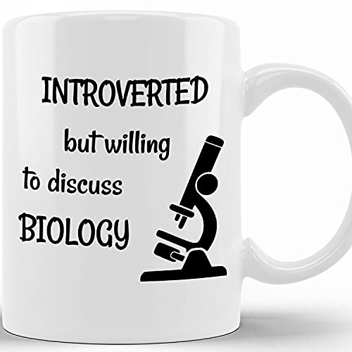 Funny Biologists Mug Introverted But Willing To Discuss Biology Funny Microbiology Microscope Student Gift Molecular Biology Gifts, 11 Or 15 Oz Ceramic Novelty Coffee Cup, Gift Ideas Christmas, Thank