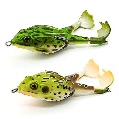 2 Pcs Double Propellers Frogs Soft Bait High Simulation Soft Silicone Fishing Lures Prop Frog Lures for Bass Realistic Design Floating Weedless Baits Kit for Freshwater Saltwater Fishing Lure