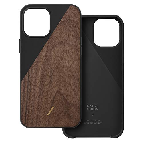 Native Union Clic Wooden Case – Crafted with Genuine American Walnut Wood – Slim & Lightweight Cover – Unique Natural Wood Grains – Compatible with iPhone 12 Pro Max (Walnut/Black)