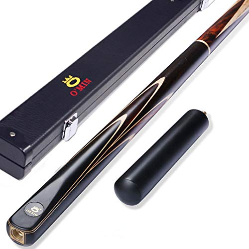 OMIN - Stecca da biliardo 3/4 realizzata a mano, in legno di frassino con estensione per stecca da biliardo, set di 3 punte da scegliere (cassa in legno, 9,5 mm)