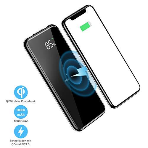 Kabellose Powerbank 10000mAh QI Wireless Charger mit digitaler Anzeige und Handyhalterung externer Akku QC 3.0 induktives Ladegerät für iPhone Samsung Huawei Smartphones (HOKONUI Q3)