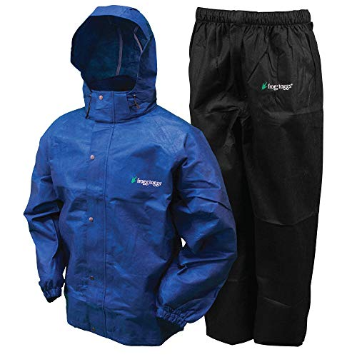 FROGG TOGGS Men's Classic All-Sport Waterproof Breathable Rain Suit, Royal Blue Jacket/Black Pants, Large