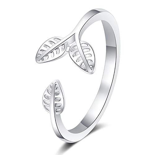 BNFG Open Rings For Womenm,Fashion Ladies Adjustable Open Rings Minimalist Flower Shape Leaves Design Silver Elegant Ring Engagement Eternity Xmas Jewellery Gift For Women Girls