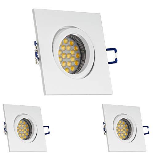 LEDANDO 3er LED Einbaustrahler Set für Spanndecken Weiß matt 5W DIMMBAR LED GU10 Deckenstrahler - Spots - Deckenspots - Deckspot