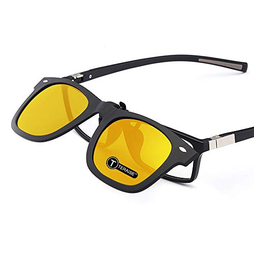 TERAISE Gafas de visión nocturna con clip y polarizadas con función Flip Up, adecuadas para conducir pesca Deporte al aire libre 🔥