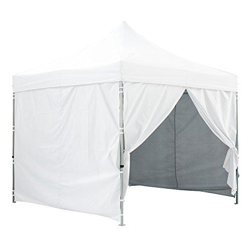 Tente Pliante Blanche + Pack Côtés 3x3m Premium Light Tube 32mm en Acier Bâche 220g/m² Enduit PVC 100% ÉTANCHE Barnum Pliante + Sac de Transport