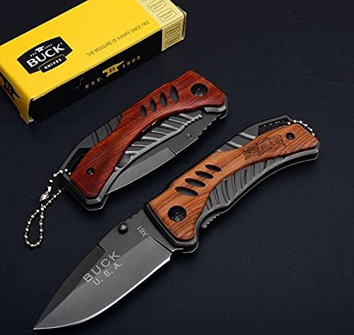 LaPetiteCaverne - Couteau Compact Pliant de Poche BUCK Lame Acier 7 cm Manche Bois Gravé 8,5cm