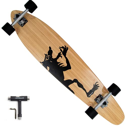 APOLLO Pintail Longboard Cruiser Skateboard - 42 Inch Kicktail Longboard Skateboard Made of 7 Layer Clear Maple & Bamboo - Complete Super Cruiser Longboard Pintail for Adults, Teens, Kids, 220 lbs
