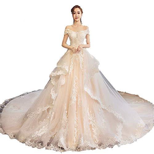 Inicio Accesorios Vestido Elegante Mujer Fuera del Hombro Rebordear Apliques de Encaje Tren Largo Vestido de Novia Vestido con Cordones en la Espalda Vestido Largo de Novia Elegante Fiesta Formal V