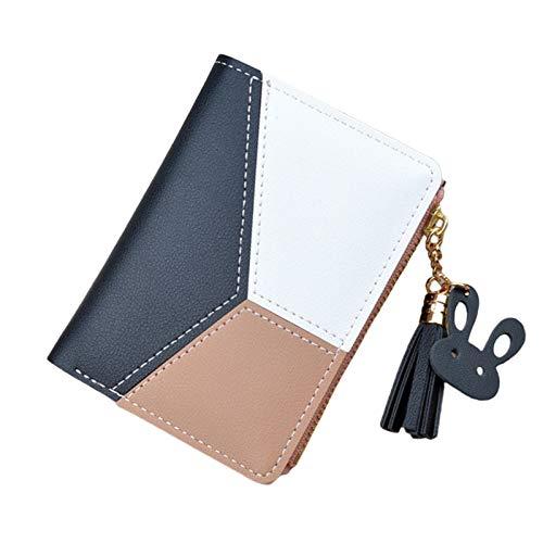 SunniMix Cartera grande para mujer, bolso de mano, borla, Bifold, titular de la tarjeta, organizador, bolso de teléfono de viaje para mujer - Short Black