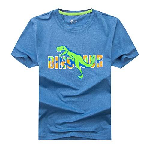 YoungSoul Jungen Dinosaurier T-Shirt Sommer Kinder Kurzarm Sportshirt Hellblau 110-116/Größe 120