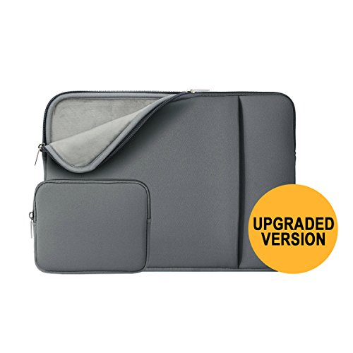 RAINYEAR Laptop Sleeve Padded Bag Computer Case Cover With Small Case for Charger or Mouse, for MacBook/Notebook/Ultralbook/Tablet/Chromebook of Dell HP ThinkPad Lenovo (11'-11.6', Gray(with fleece))
