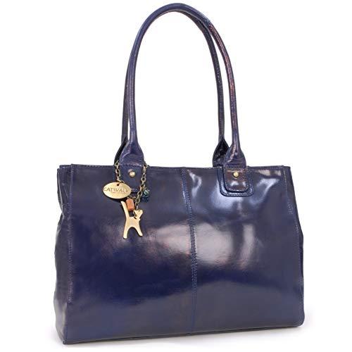 CATWALK COLLECTION - KENSINGTON - Bolso de hombro estilo shopper - Cuero vintage - Grande - Azul Marino