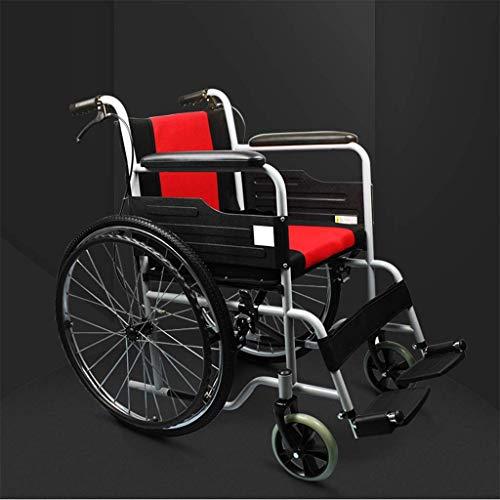 AOLI Aluminiumlegierung Licht Transport Stuhl, verdickte Kissen Steel Tube Rollstuhl, Aluminiumlegierung älter Behinderte Hand drückt Tragbare Gehen Scooter, faltbaren Rollstuhl, Rot,rot