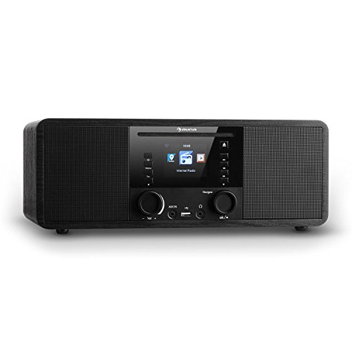 auna IR-190BK - New Edition, Digitalradio, Internetradio, WLAN-Radio, UKW Radio, 2 x 8 W RMS, Netzwerkplayer, Bluetooth, USB-Port, AUX-Eingang, Wecker, TFT-Farbdisplay, Timer, schwarz