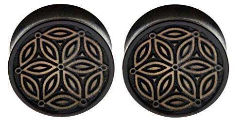 Pair Black Iron Wood Organic Hand Carved Ear Plugs Gauges 7/16 1/2 9/16 5/8 3/7 7/8 1 inch (9/16' 14mm)