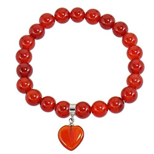 Pulsera de perlas de ágata naranja con colgante de corazón