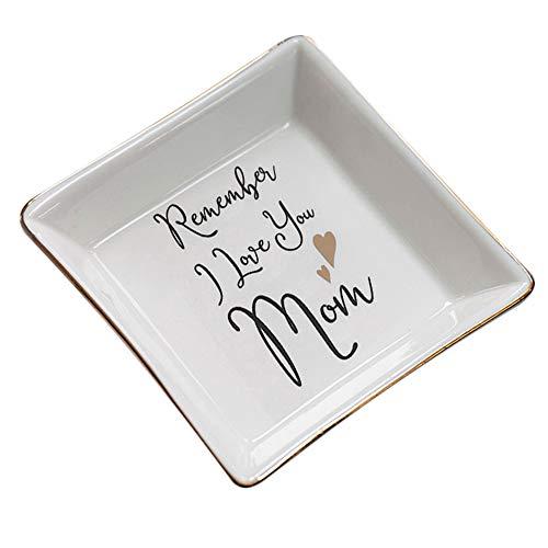 Bandeja de joyería cuadrada de cerámica apilable para el día de la madre Organizador de bandeja de almacenamiento de exhibición de anillo de regalo del día de la madre