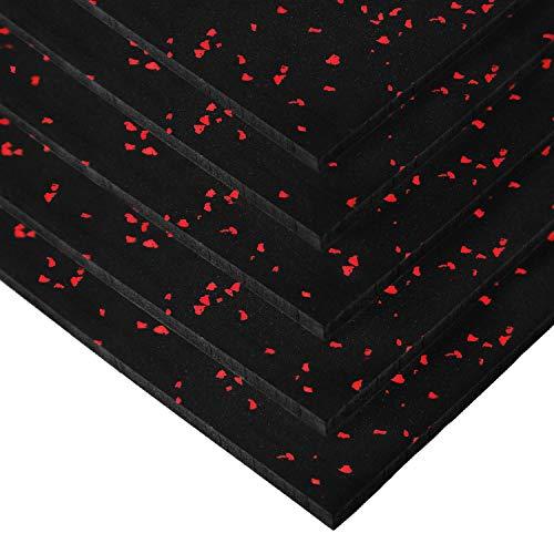 IncStores Premium 3/8in x 4ft x 6ft Rubber Gym Flooring Mats Vulcanized Rubber Flooring Equipment Mats (Red - 1 mat)