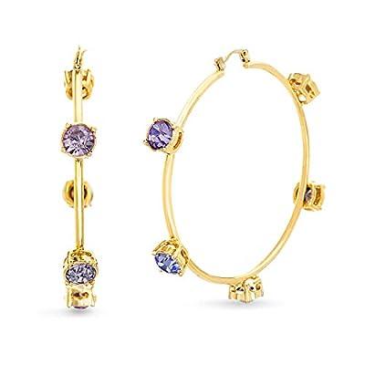 Steve Madden Rhinestone Stud Design Hoop Earrings Gold/Purple One Size