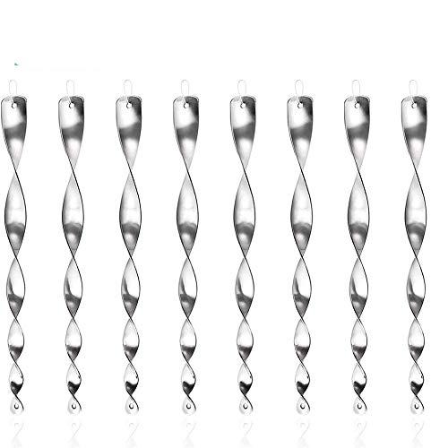 LEKO Ahuyentador de pájaros reflectante en espiral para ahuyentar a los pájaros y para la decoración de balcón y jardín (8 unidades, plata)