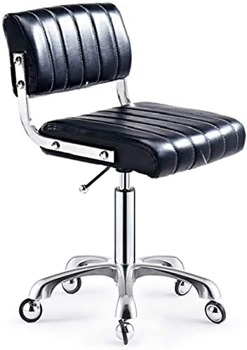 HZYDD Bar Stool Office Chair Drafting Ergonomic Desk Medical Spa Stool Support Modern Executive Mid Back Rolling Swivel Adjustable Computer,White,alloy wheel (Color : Beige, Size : Alloy wheel)