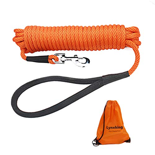 lynxking Check Cord Long Dog Training Leash Tracking Line Heavy Duty Puppy Rope Lead for Small Medium Large Dogs (30 feet x 3/8 in, Orange)