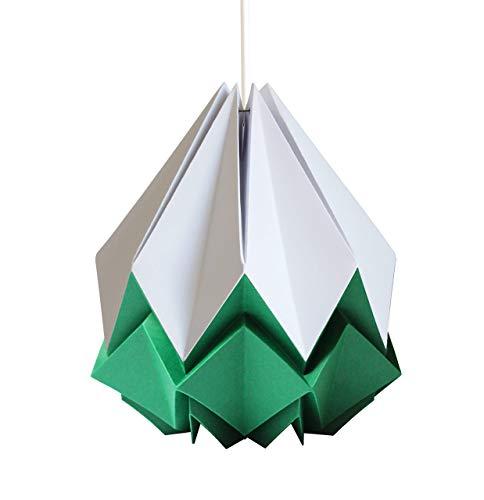 Origami Lampenschirm handgemacht in Papier - weiß und waldgrün