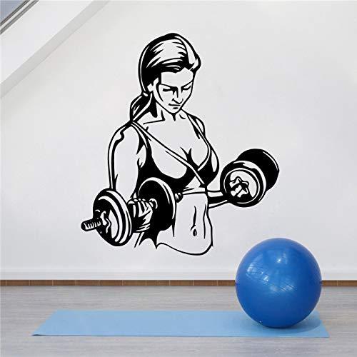 LOIUYT Creative Girl Gym Pegatinas de pared Papel tapiz para sala de fitness Vincy Art Decals Gym Vincy DIY Mujer Patrón de plástico moderno 43cm X 48cm