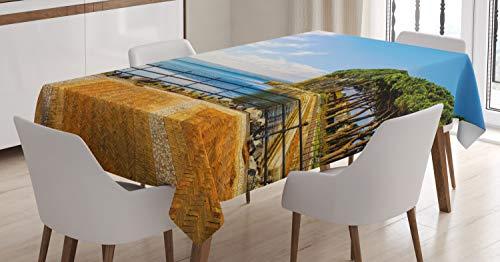 ABAKUHAUS Italiaans Tafelkleed, Bolsena Meer Italië View, Eetkamer Keuken Rechthoekige tafelkleed, 140 x 240 cm, Blauw en Pale Brown