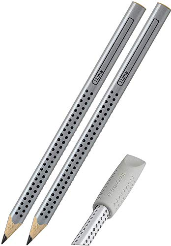 Faber-Castell Jumbo Grip Pencils (Pack of 2) with Eraser Cap, Silver, 2er mit Radierkappe