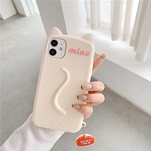 3D Cute Cat Ears Tail Funda para teléfono para iPhone 12 Pro MAX 12 11Pro MAX XS MAX XR X 6 6s 7 8 Plus Funda Blanda Colgante de Pata de Gato de Dibujos Animados para iPhone 8 8plus con Colgante