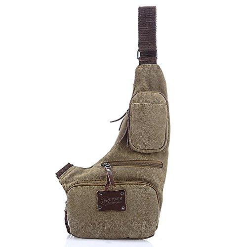 Sac de Poitrine Pack de poitrine Toile Kaki Courir Ride Escalade Mouvement Sac à bandoulière Pack de poitrine Sac Messenger Sling bag