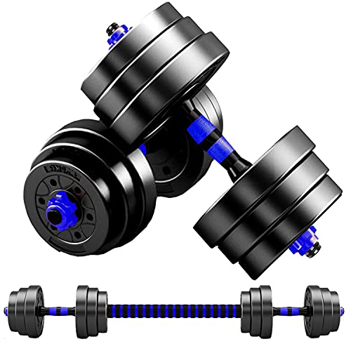 MOJEER ダンベル 可変式【最新進化版・3in1】10kg 20kg 30kg 40kg 2個セット バーベルにもなる ダンベル 無臭素材 静音FL (10kg×2個セット/青XH)