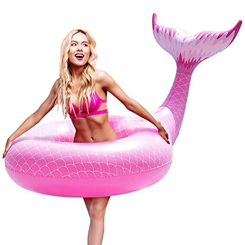 FUNOVA Cola de Sirena Hinchable colchonetas Tubo de Piscina Flotador Gigante Veraniego Inflable Juguete para Fiestas Piscina Verano Nadar Piscina Océano Lago para Niños Adultos Niñas Rosa
