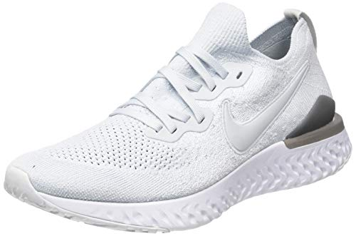 Nike Men's Epic React Flyknit 2 Running Shoes White/Silver