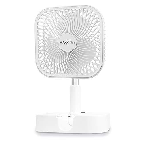 MAXXMEE Akku-Ventilator | klein und kompakt, ausziehbar zum Standventilator | Indoor und Outdoor für unterwegs | Akkubetrieben, Aufladen über USB [weiß]