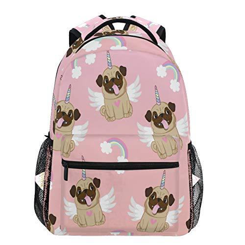 Oarencol Unicorn Pug Wings Rainbow Dog Heart Backpacks Bookbags Daypack Travel School College Bag