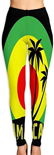 MODORSAN Coconut Tree Reggae Color Jamaican Women Girls 3D Impreso Leggings Soft Workout Gym Yoga Pants-S