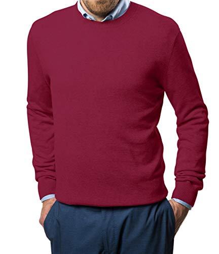 Marino Cotton Sweaters for Men - Lightweight Crewneck Men's Pullover (Burgundy, Large)