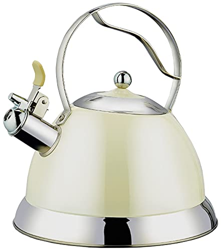 Inductie fluitketel met anti-verbrandingshandvat, roestvrijstalen theepot voor alle fornuizen, 2,5 liter theepot met koper geverfde waterkoker