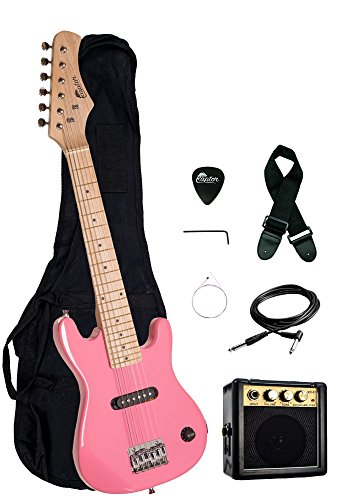 """Raptor EP3 30"""" Kids 1/2 Size Electric Guitar Package with Portable 3W Amp, Gig Bag, Strap, Cable and Raptor Picks - PINK"""