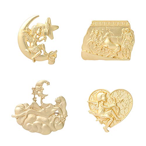 Golden Metal Texture Greek Mythology Cameo Brooch Pin Set Cupid Lapel Pin Accessories for Clothes Backpacks Badges Hats Bags Gift