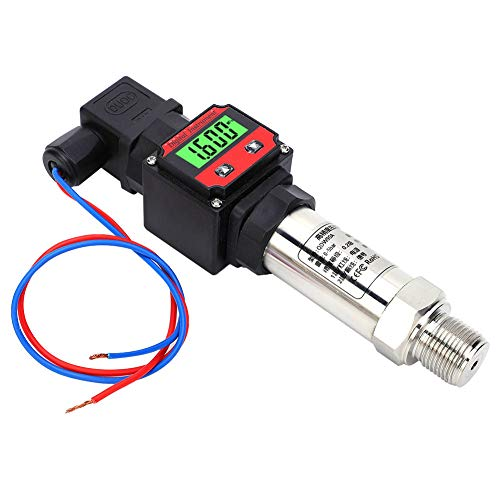 Pressure Sensor, with Digital LED Display Pressure Transmitter, 24V DC 4‑20mA Compatibility, for Measuring Oil Pressure, Measuring Hydraulic(0-500Kpa)