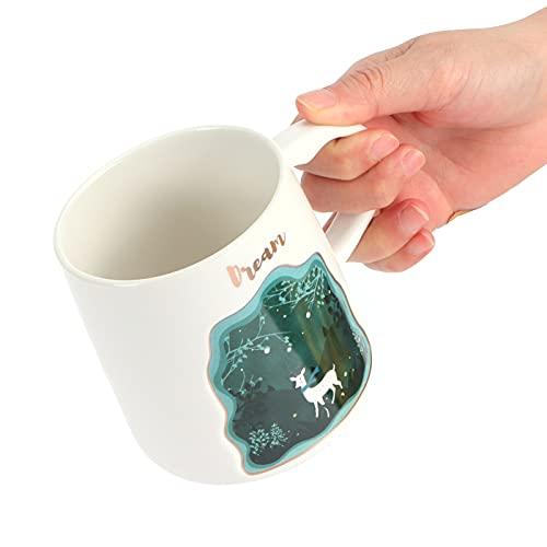Taza de animal en relieve, con gran capacidad, duradera, cómoda, mango para usar, taza de cerámica para oficina, para el hogar(Fawn spoon with lid)