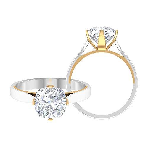 Anillos de compromiso de corte cojín, D-VSSI 2 CT 8 MM, anillo de moissanite solitario, anillo de boda único, anillos de cóctel, anillo de aniversario, 10K Oro amarillo, Size:EU 70