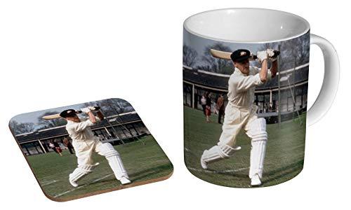 """Keramik-Kaffeebecher mit Untersetzer und Aufschrift """"Don Bradman Cricket Legend"""", Geschenk-Set"""