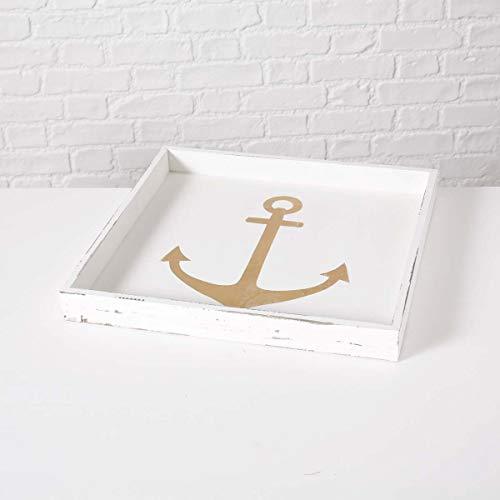 Holz-Tablett Anchor Anker Shabby Weiß, rechteckiges Tablett Maße 48,3 x 48,3 x 5 cm, als Serviertablett, Dekotablett oder als Geschenk, z.B. zum Einzug